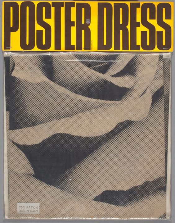 Packaging for a poster dress featuring an image of a rose from 1967.