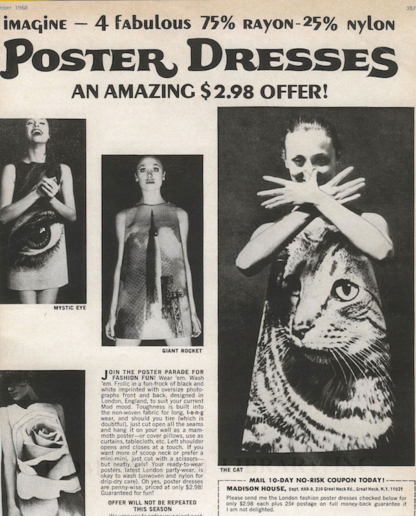 An advertisement for a line of photographic dresses from Poster Dresses Ltd., 1967.