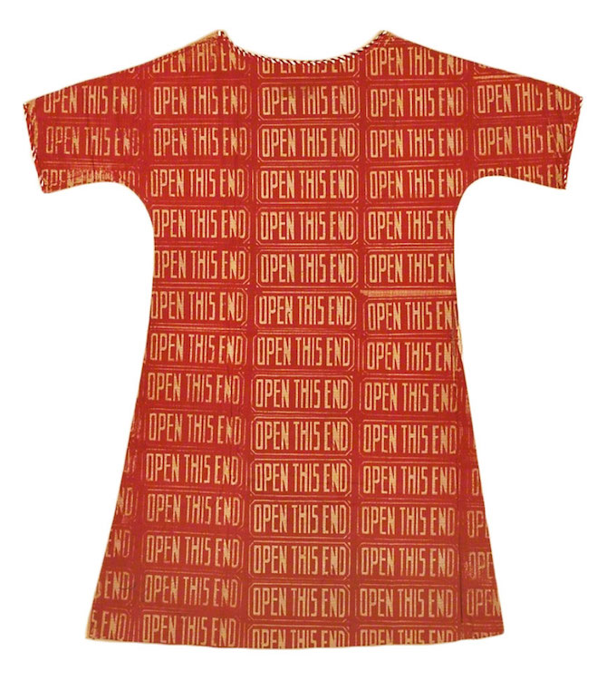 One of Andy Warhol's screen-printed dresses from 1966. Via artsy.