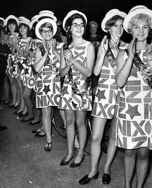 Several women wearing Nixon dresses at the 1968 convention.
