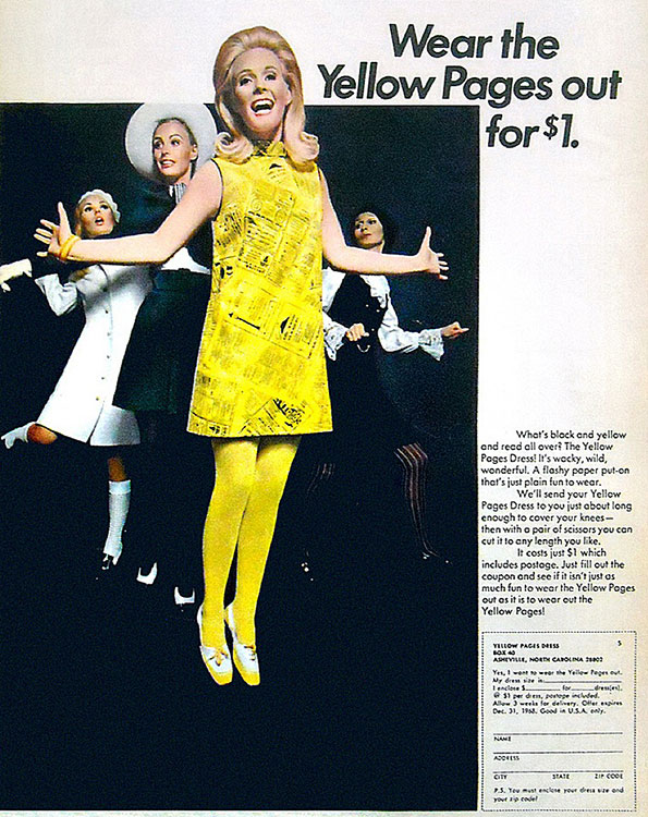 An ad for the Yellow Pages' paper dress from 1968.