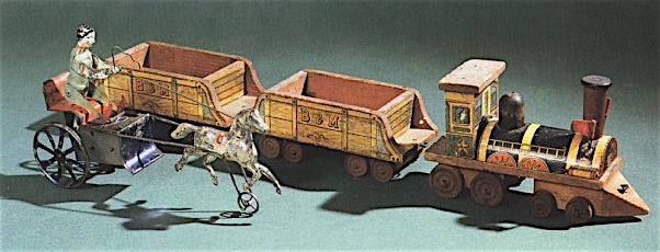 Top: Ad from the Depression era for the Lionel Multivolt transformer. Above: A 19th-century wooden dragger races against a tin horse and buggy. Collection of Don Ross. Both images courtesy Motorbooks/Quarto