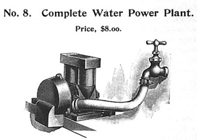 By the early 1900s, Carlisle & Finch was selling a water-powered dynamo that could be hooked up to a kitchen faucet. It was a good deal safer than other electric-power sources, but a nuisance at mealtime.