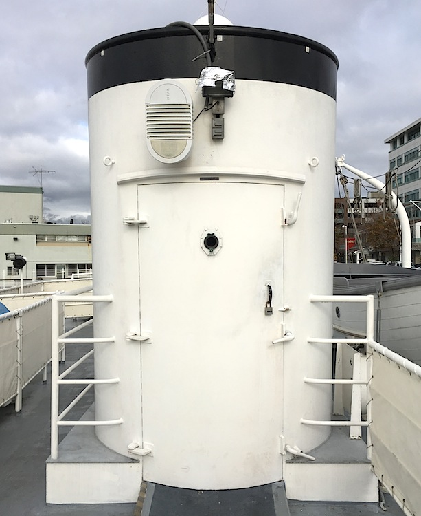 The Potomac's rear smokestack was converted into an elevator so the wheelchair-bound president could move freely between the ship's two main decks.