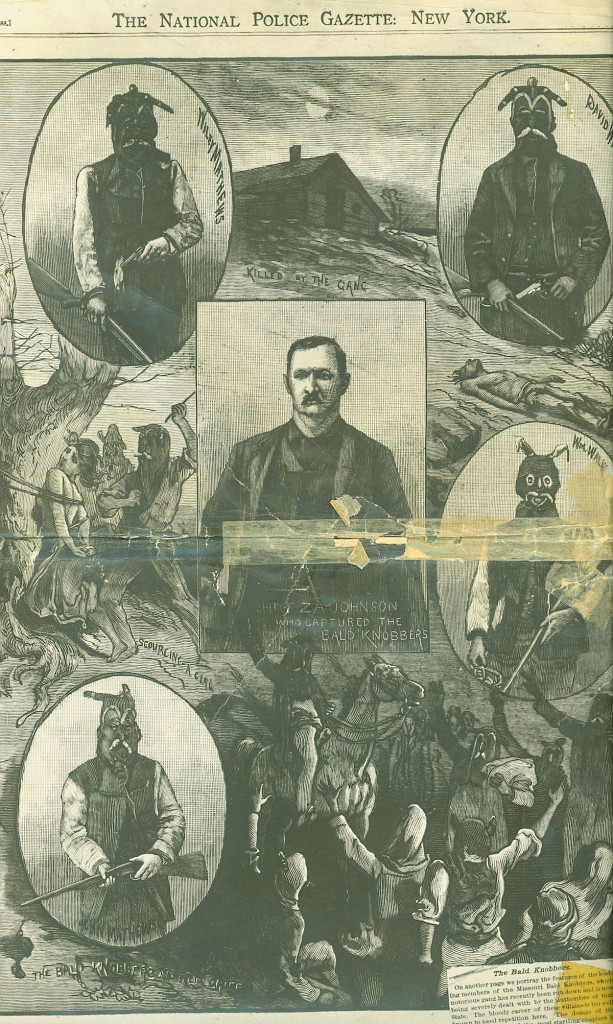 """The National Police Gazette"" of New York City published a sensational illustration of the four Bald Knobbers charged with killing William Edens and Charles Greene, as well as the Christian County sheriff who caught them. Click on the image to see a larger version. (Courtesy of The State Historical Society of Missouri)"