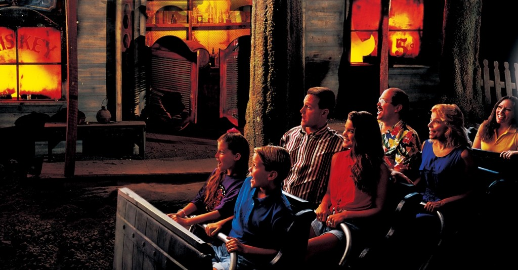 The Marble Cave mining village of Marmaros burns in the Fire in the Hole dark ride, as seen in a publicity photo. (Courtesy of Silver Dollar City)