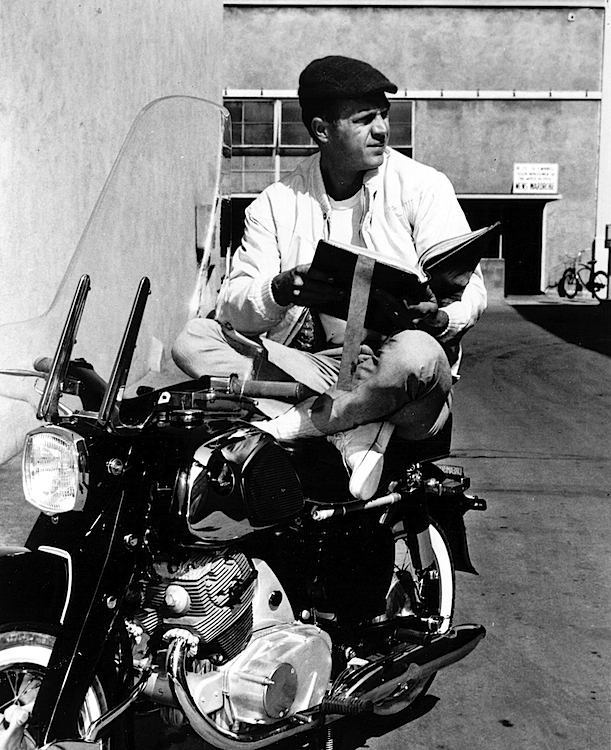 This is probably a publicity shot, taken in 1961, of McQueen posing on a Honda CA77 Dream. Photo by PhotoFest, from McQueen's Motorcycles.