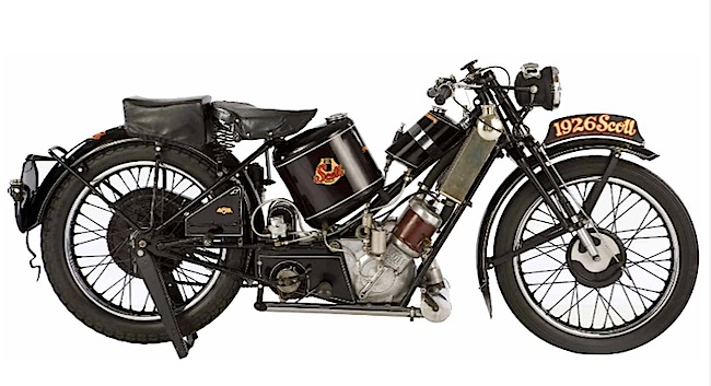 The great car and motorcycle customizer Von Dutch painted the wrong date on this 1929 Scott Super Squirrel. Before his death, McQueen gave the rare bike to Von Dutch as a gift. Via Antiquorum.