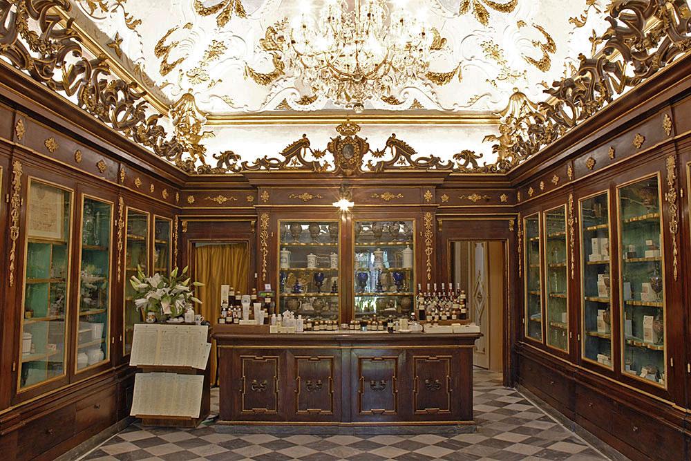 The original public sales room features historic displays of antique products.