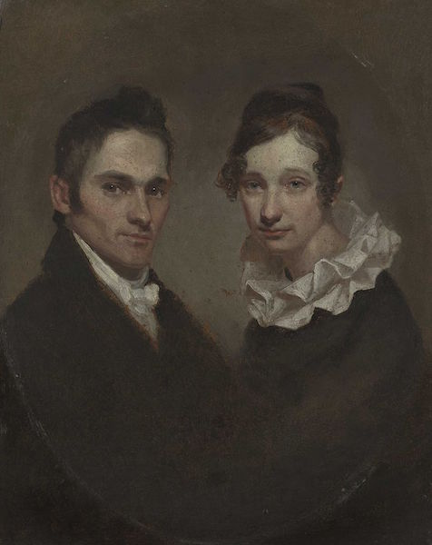 Young Calvinist pastor Hiram Bingham and his wife Sybil Moseley Bingham, seen in a 1819 Samuel Morse portrait, took a dim view of the ancient hula when they arrived in Hawai'i in 1820.  (Via WikiCommons)