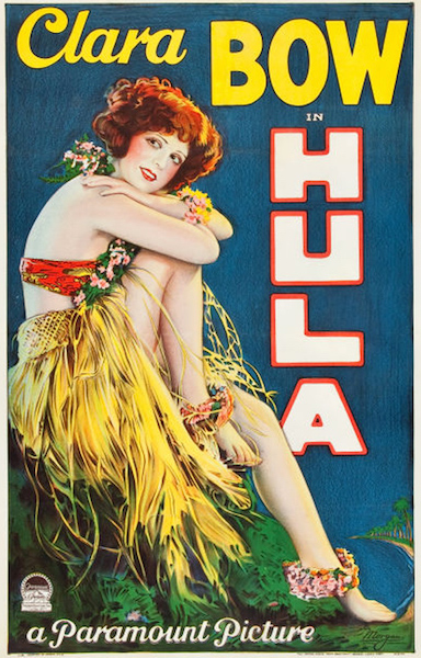 "Roaring Twenties ""It Girl"" Clara Bow portrayed a very pale Hawaiian hula dancer in the 1927 silent film ""Hula."""