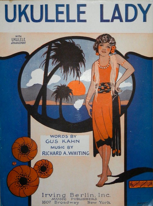 "The sheet-music cover for 1925's ""Ukulele Lady"" has barely any traces of Hawai'i on it."