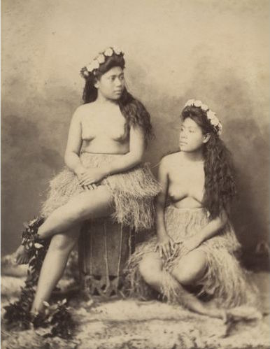 This late 19th century photo of topless hula girls in grass skirts and flower crown was probably made as erotic art for Westerners, as American missionaries banished topless hula dancing in the 1820s.