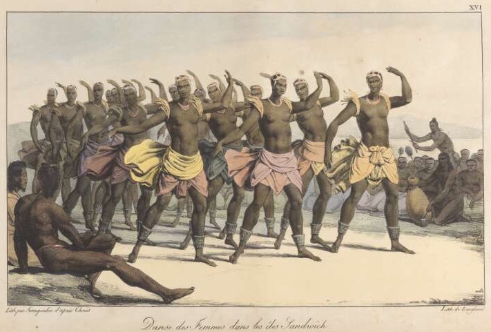 "This 1822 hand-colored lithograph ""Female dancers of the Sandwich Islands"" by Jean Augustin Franquelin is based on a drawing by Louis Choris, the artist aboard the Russian ship Rurick, which visited Hawai'i in 1816. (Via WikiCommons)"