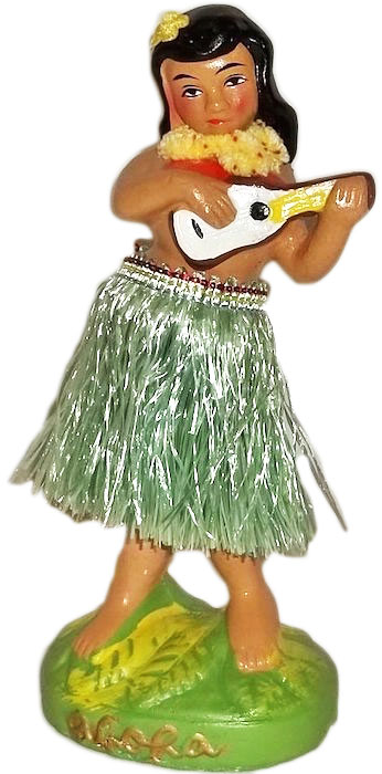 This 'ukulele-holding hula nodder, or dashboard doll, was a typical souvenir of the 1950s.