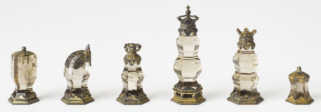 Featuring pieces made from crystal and smoky topaz with silver and gilt details, this early 16th-century set is remarkably similar to one owned by King Louis XVI of France.