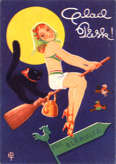 Around the 1950s, Easter Witches became pin-up girls. (Via On Faith)