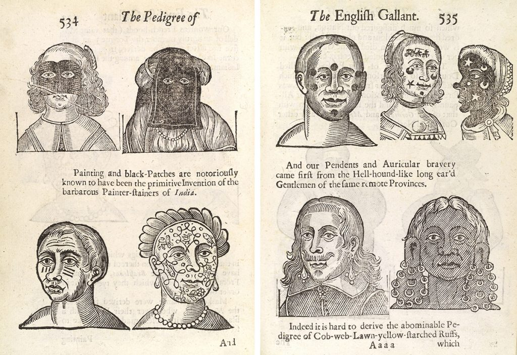 """A spread from John Bulwer's 1653 book, """"Anthropometamorphosis"""" featuring facial modifications in different cultures. Courtesy the Wellcome Library."""