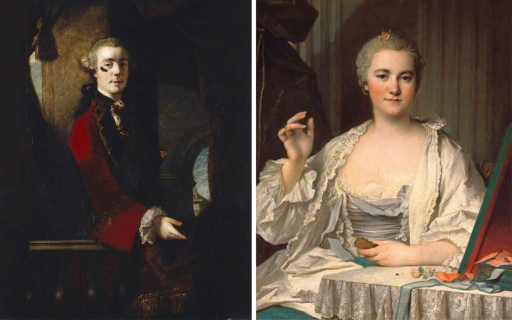 """Top: Henry Robert Morland's 1769 painting, """"The Fair Nun Unmasked,"""" referenced the contrived appearance of prostitutes. (Via the <a href=""""http://www.leedsartgallery.co.uk/"""" target=""""_blank"""">Leeds Art Gallery</a>) Above left: Joshua Reynolds' portrait of Charles, 9th Lord Cathcart wearing a large face patch, c. 1753-1755. (Via the <a href=""""https://artuk.org/discover/artworks/charles-9th-lord-cathcart-205898"""" target=""""_blank"""">Manchester Art Gallery</a>) Above right: Louis Tocqué's 18th-century portrait, """"<em>La Mouche</em>: A Lady at Her Toilet,"""" captures a women applying beauty patches."""
