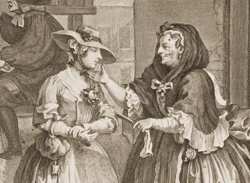 """A detail of William Hogarth's """"A Harlot's Progress,"""" from 1732 shows Elizabeth Needham, the older prostitute dotted with patches, greeting fresh-faced Moll Hackabout. Via Wikimedia."""