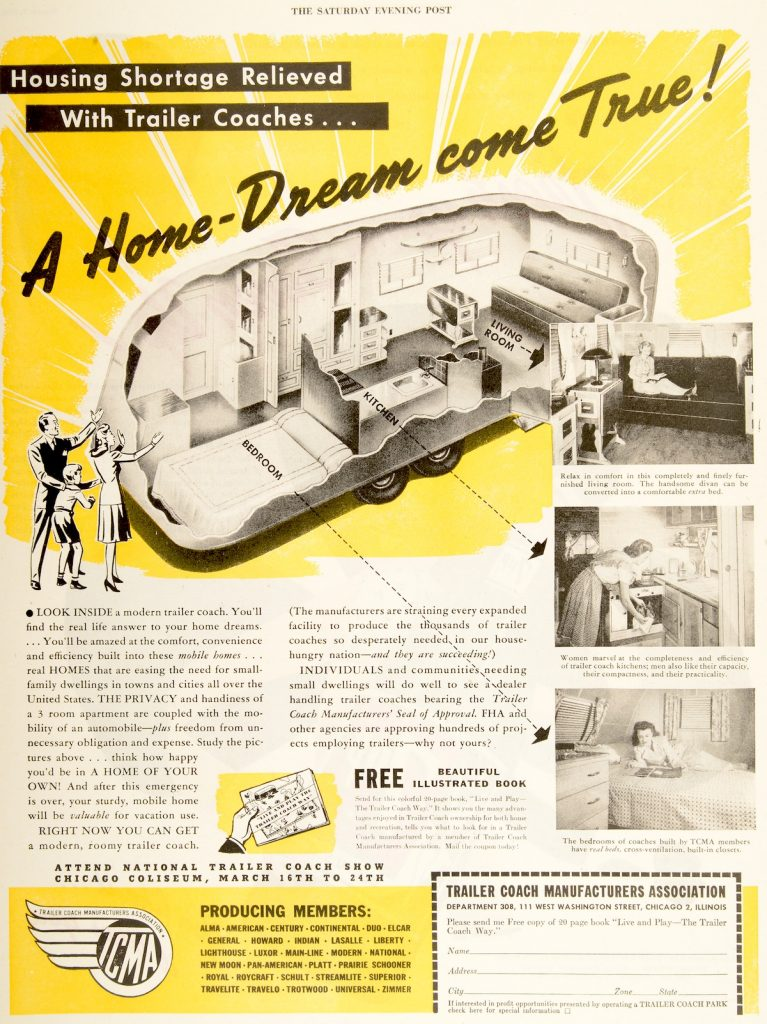 """This trailer ad in the March 9, 1946, edition of """"Saturday Evening Post"""" refers to the post-World War II housing shortage. You can see the living quarters in the cutaways has no bathroom. (From Don't Call Them Trailer Trash, courtesy of Schiffer Publishing)"""