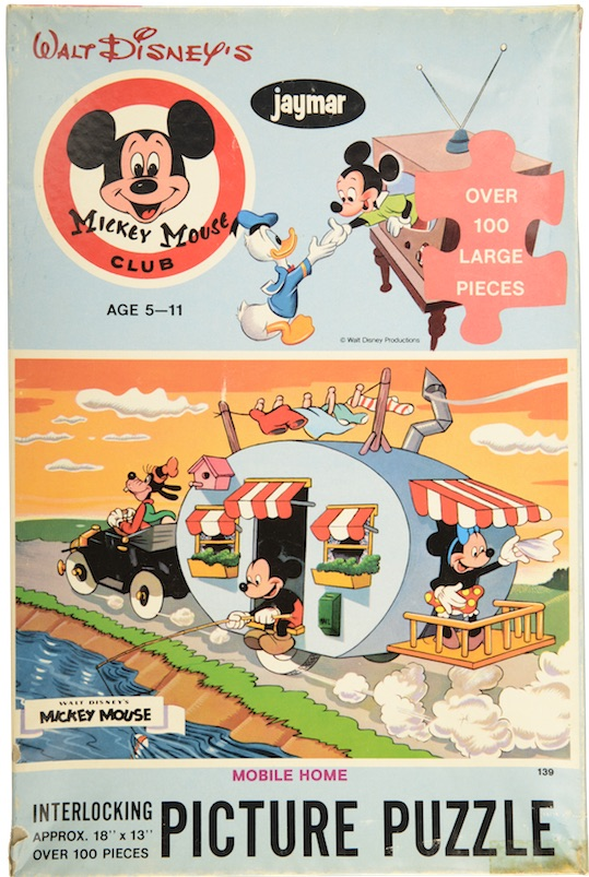 "A 1960s Mickey Mouse Club puzzle portrays Mickey and friends vacationing with a ""canned ham"" style travel trailer. (From Don't Call Them Trailer Trash, courtesy of Schiffer Publishing)"