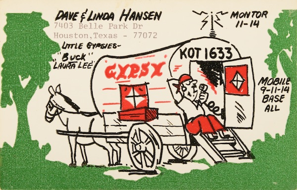 "This QSL card from the 1970s shows a ham-radio antenna on top of a ""gypsy"" wagon. (From Don't Call Them Trailer Trash, courtesy of Schiffer Publishing)"