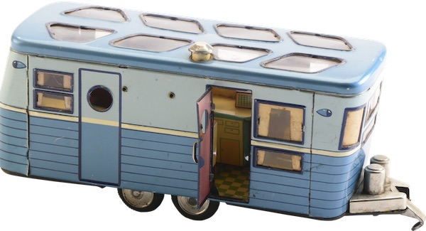 "This 1950s tin toy, made in Japan, features a fully detailed interior of a ""house trailer."" (From Don't Call Them Trailer Trash, courtesy of Schiffer Publishing)"
