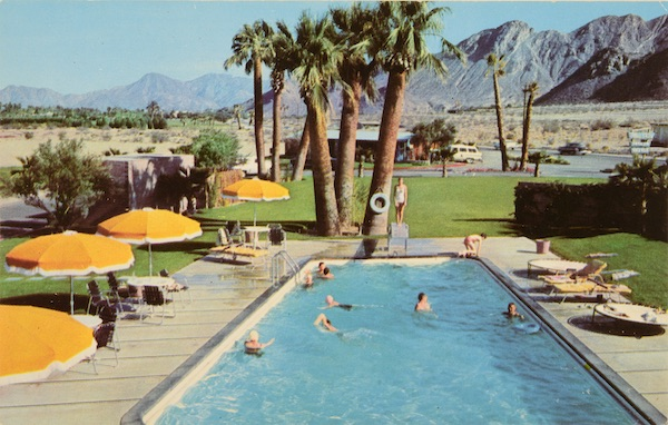 """This 1950s advertising postcard for Blue Skies Trailer Village near Palm Springs, California, brags, """"It is the concept of Bing Crosby, President. Co-habitues (and landlords) include Humphrey Bogart and Lauren Bacall, Jack Benny, Barbara Stanwyck, Danny Kaye, Greer Garson, George Burns and Gracie Allen, Jose Ferrer and Rosemary Clooney, Claudette Colbert, and many others."""" (From Don't Call Them Trailer Trash, courtesy of Schiffer Publishing)"""