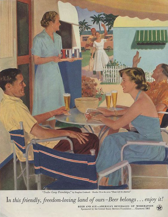 """Douglass Crockwell painted """"Trailer Camp Friendships"""" for a U.S. Brewers Foundation beer ad, which appeared in the April 1953 issue of """"Woman's Home Companion."""" Drinking beer at the trailer park looks like elegant, upper-middle class fun. (Via eBay)"""