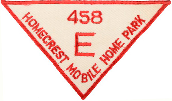 A resident of the Homecrest Mobile Home Park would have worn this patch on his or her jacket around the 1950s-'60s. (From Don't Call Them Trailer Trash, courtesy of Schiffer Publishing)