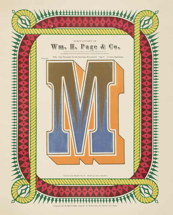 Although fonts are the stars of Specimens of Chromatic Wood Type, Borders, &c., the 1874 catalog also included numerous examples of borders. This 12-line example is Border No. 51, which cost $3 per foot.