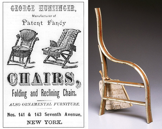 "Left, an 1874 advertisement shows two Hunzinger designs patented in the 1860s. Via the Thomas J. Watson Library, Metropolitan Museum of Art, New York. Right, the model for Hunzinger's 1878 patent application displays a chair frame strengthened with strips of metal. Via the <a href=""https://www.brooklynmuseum.org/opencollection/objects/148848"" target=""_blank"">Brooklyn Museum</a>."