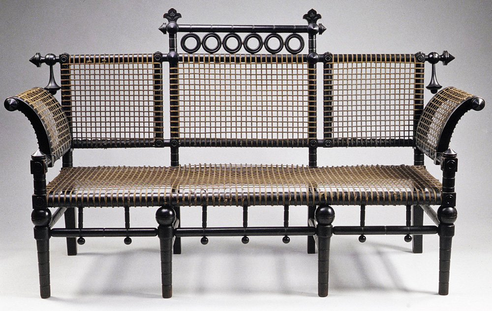 This settee incorporates Hunzinger's wire-mesh patent, circa 1876-1885. Via the Metropolitan Museum of Art, New York.
