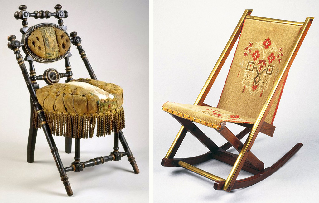 "Top: A proto-modern Hunzinger design painted to resemble bamboo, circa 1876. Via <a href=""https://www.1stdibs.com/furniture/seating/side-chairs/george-jakob-hunzinger-new-york-19th-century-rare-painted-chair-1876/id-f_960480/"" target=""_blank"">1stDibs</a>. Above left, this chair's minimalist frame is partly obscured by lush period upholstery. Via the <a href=""https://www.brooklynmuseum.org/opencollection/objects/2267"" target=""_blank"">Brooklyn Museum</a>. Right, a folding rocking chair featuring original fabric, circa 1870, and Hunzinger's 1878 patent for metal rails (shown below). Via the <a href=""https://www.brooklynmuseum.org/opencollection/objects/2036"" target=""_blank"">Brooklyn Museum</a>."