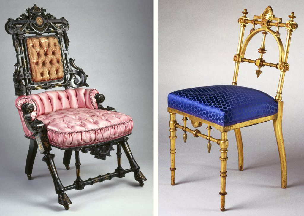 "Left, an 1869 Hunzinger chair of ebonized wood features overt ornamentation popular at the time, including the center crest and hoof feet (original upholstery was purple damask). Via the <a href=""https://www.brooklynmuseum.org/opencollection/objects/2358"" target=""_blank"">Brooklyn Museum</a>. Right, a more streamlined Hunzinger chair, circa 1885, features original gilded wood with updated upholstery. Via the <a href=""https://www.brooklynmuseum.org/opencollection/objects/154426"" target=""_blank"">Brooklyn Museum</a>."