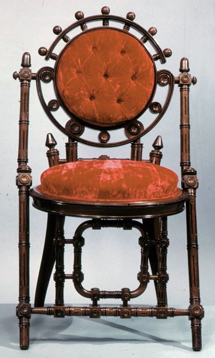 A Hunzinger chair with machine-inspired detailing, circa 1870s. Via the Metropolitan Museum of Art.