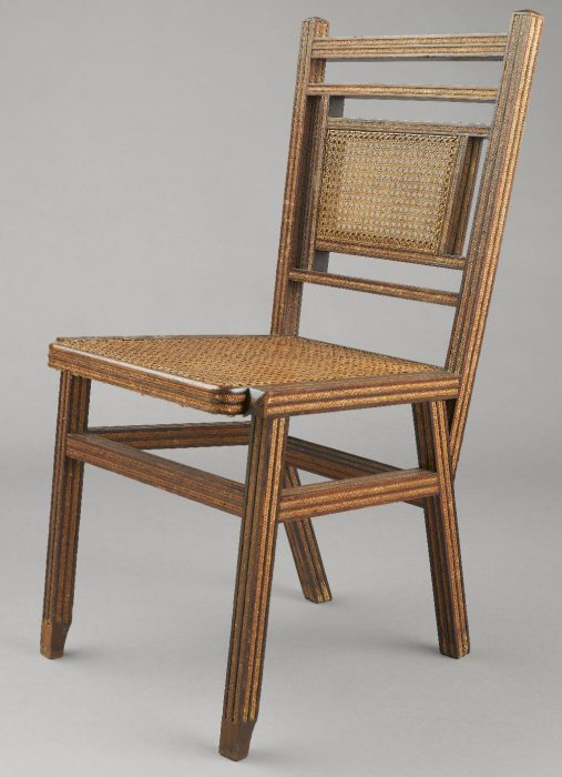 A Hunzinger side chair from the 1880s featuring his patented inset straw-braiding on the rails, stiles, legs and apron. Via the Brooklyn Museum.