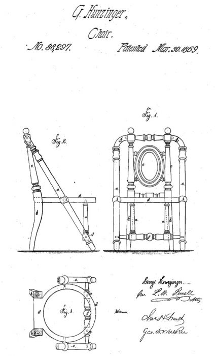 An 1869 Hunzinger patent drawing for a chair with elegant angled bracing.