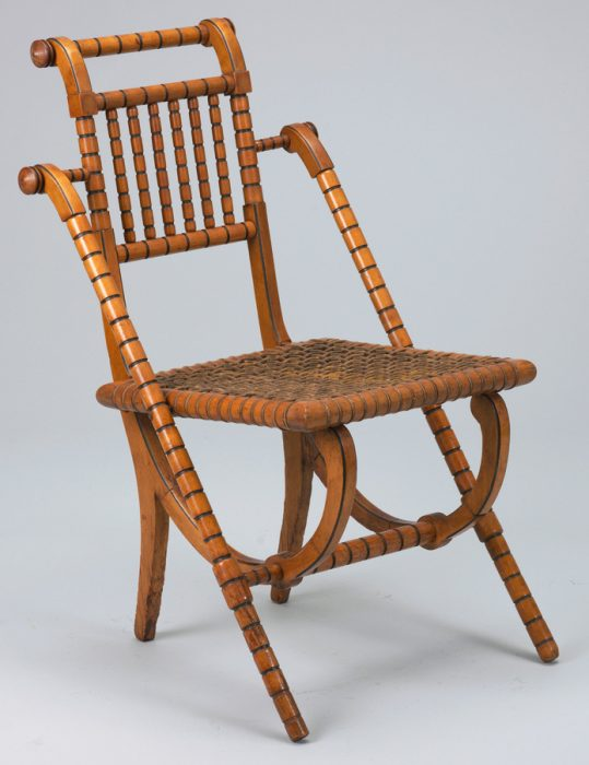 A Hunzinger side chair in a Neoclassical form, circa 1869. Via the Cooper Hewitt Museum.