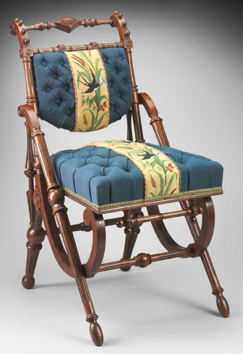This chair's structure, circa 1870, is similar to the previous example, though its wood turning and reproduced upholstery completely change the effect. Via the Museum of Fine Arts, Boston.