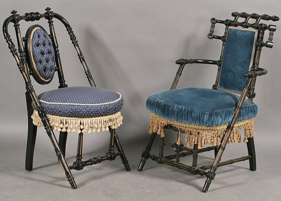 A pair of ebonized Hunzinger chairs, circa 1870. Via Live Auctioneers.