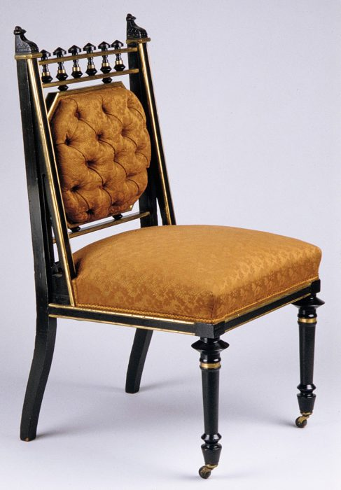A Hunzinger chair with his patented metal reinforcements, circa 1878. Via the Metropolitan Museum of Art.