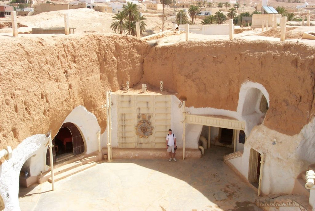 """In 2001, Alinger and his family stayed at Hotel Sidi Driss in Matmâta, Tunisia, which are centuries-old Berber cave dwellings that George Lucas selected to represent the crater homestead of Luke Skywalker's aunt and uncle in 1977's """"Star Wars: A New Hope."""" (Via Prop Store blog)"""
