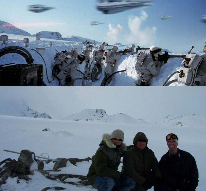 """At top, the Rebels fight the Empire from snow trenches on Hoth, the glacier planet in a still from 1980's """"Empire Strikes Back."""" Above, in 2005, Brandon Alinger, right, and friends Andy Golding and Stephen Lane visited the Hardangerjøkulen glacier near Finse, Norway, where the Battle of Hoth was shot. (Courtesy of Brandon Alinger)"""