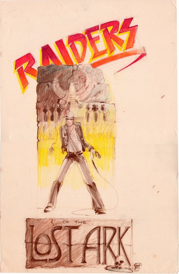 """A concept sketch for a """"Raiders of the Lost Art"""" logo by Nilo Rodis-Jamero is part of Alinger's collection. (Courtesy of Brandon Alinger)"""