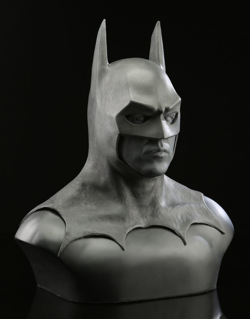 """Alinger also owns a """"Batman"""" cowl made for the 1989 Tim Burton film starring Michael Keaton—it was never used. (Courtesy of Brandon Alinger)"""