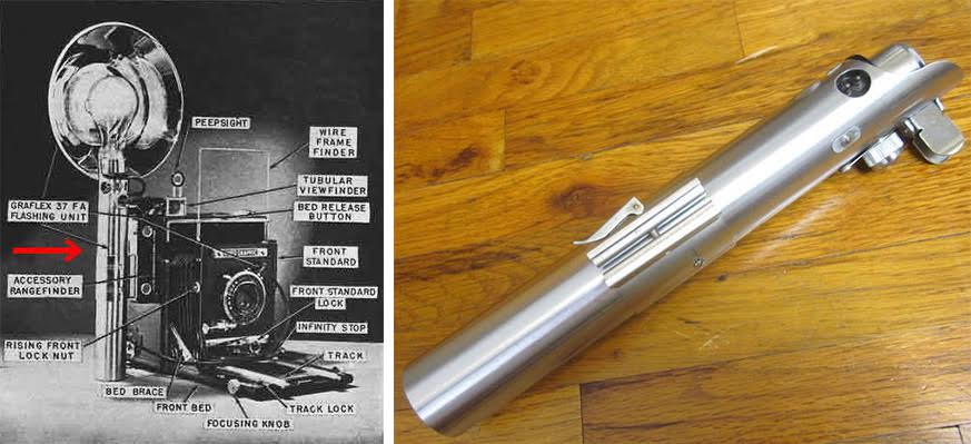 Luke Skywalker's first light saber handle was made from a 3-cell flashgun, patent #2310165, which powered the flash bulb for a 1943 Graflex Speed Graphic camera. (Via FX-Sabers.com) At right, a Graflex flash gun is being offered on eBay for $675 as a potential homemade light saber.