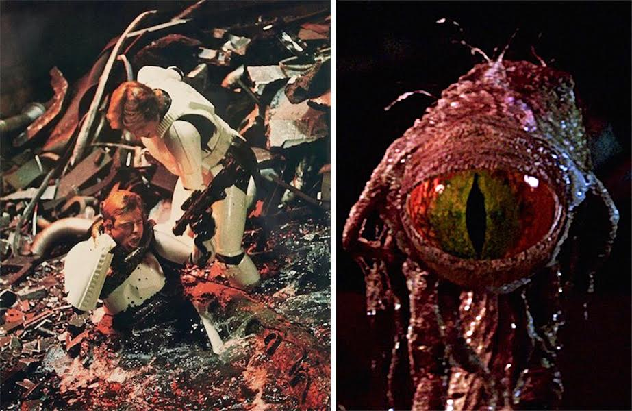 """In """"A New Hope,"""" Han Solo helps Luke Skywalker, who's being choked by a tentacle of the """"trash-compactor monster,"""" called """"dianoga"""" in toy play sets. The dianoga's cyclops-type head, right, was designed by Phil Tippett and added to the movie later at Industrial Light & Magic. The Prop Store sold this piece on auction for $50,000 in November 2016."""
