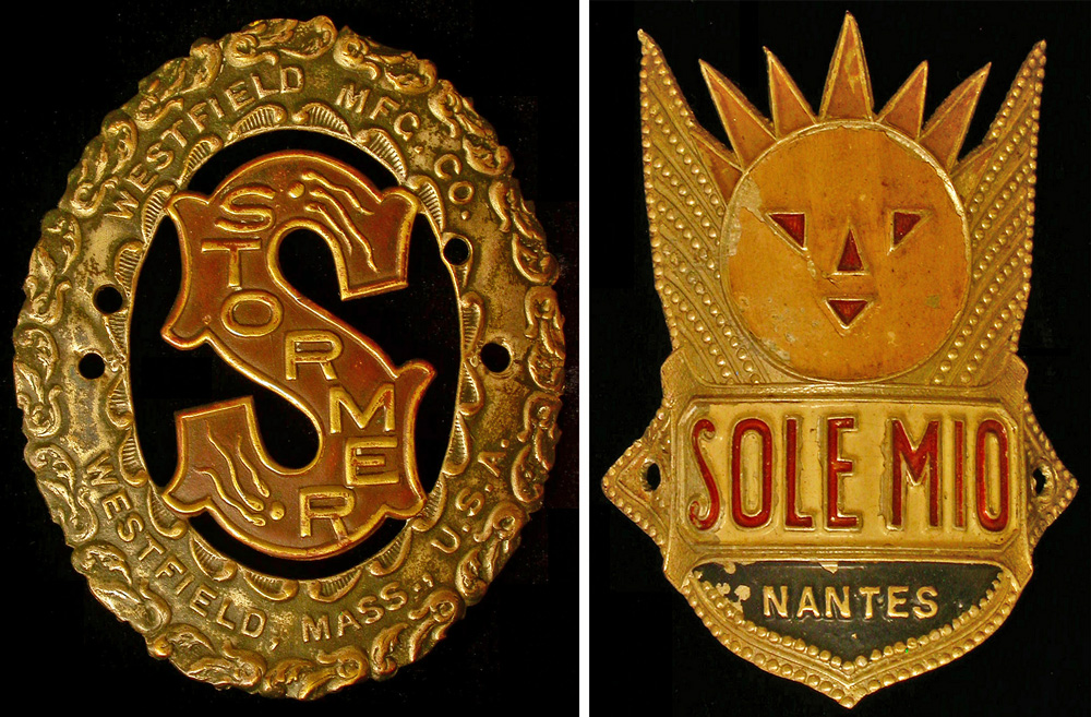 Left, a brass Stormer badge from Westfield, Massachusetts, with its unique sperm-and-egg depiction. Right, a graphic Sole Mio headbadge from Nantes, France.